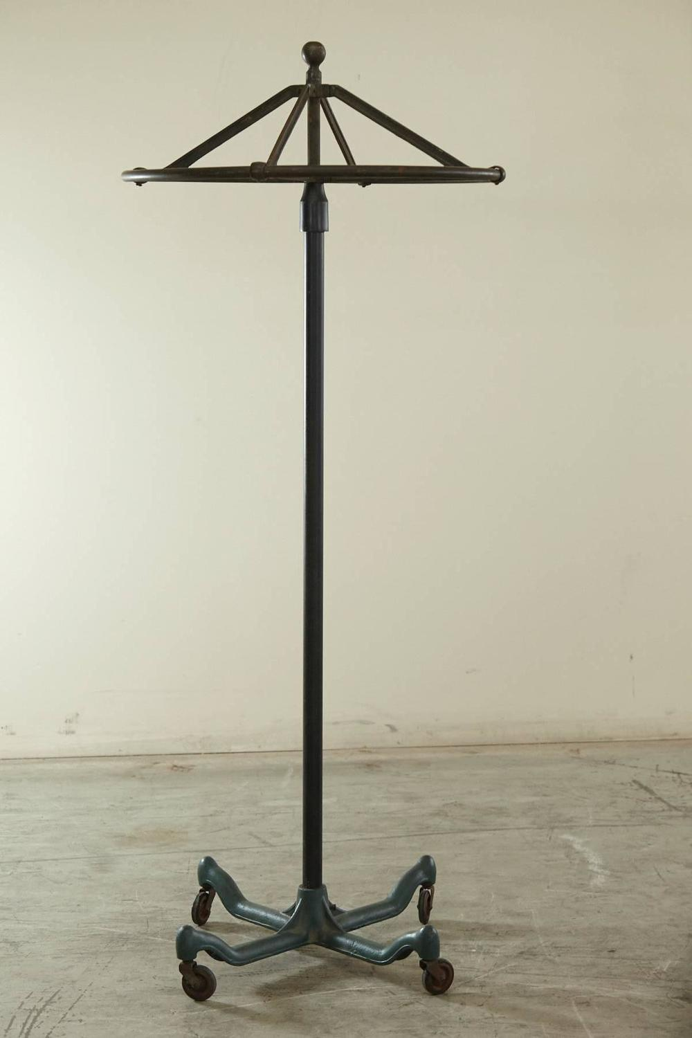Industrial Round Top Rolling Coat Rack At 1stdibs