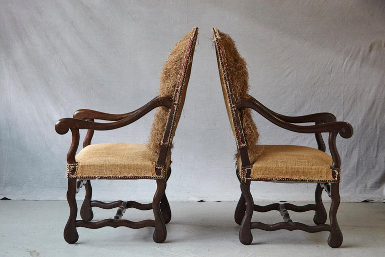 19th Century Pair of Louis XIV Style Os de Mouton Fauteuils Styled by Michael Trapp For Sale