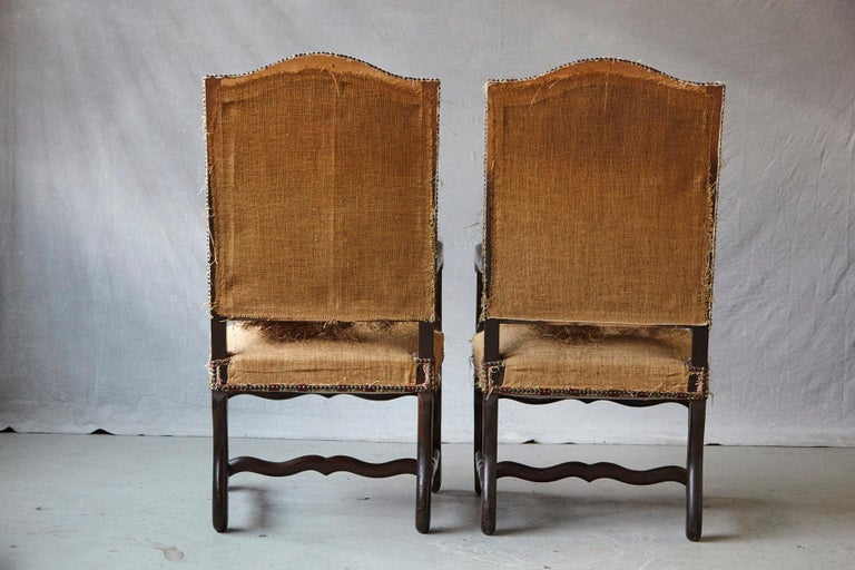 Straw Pair of Louis XIV Style Os de Mouton Fauteuils Styled by Michael Trapp For Sale