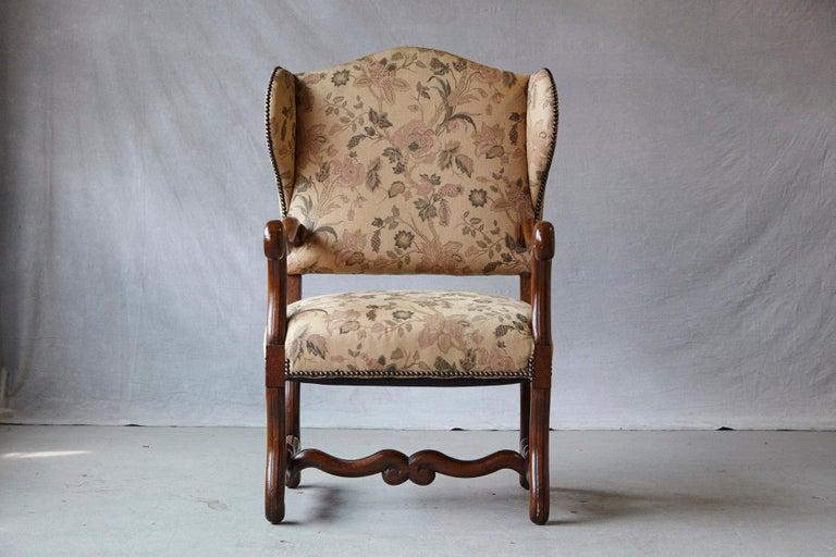 Fabric Pair of Louis XIV Style, Os de Mouton, Walnut Wingback Fauteuils For Sale