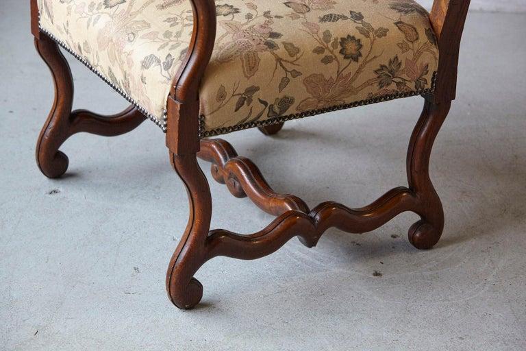 Pair of Louis XIV Style, Os de Mouton, Walnut Wingback Fauteuils For Sale 2