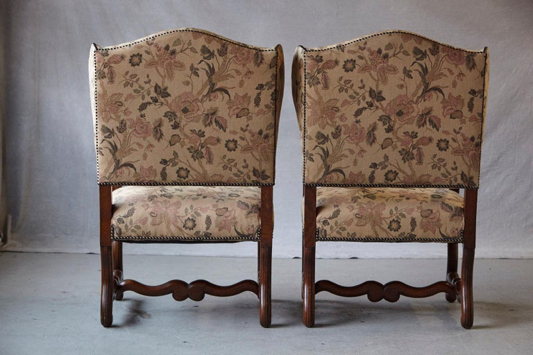 Late 20th Century Pair of Louis XIV Style, Os de Mouton, Walnut Wingback Fauteuils For Sale