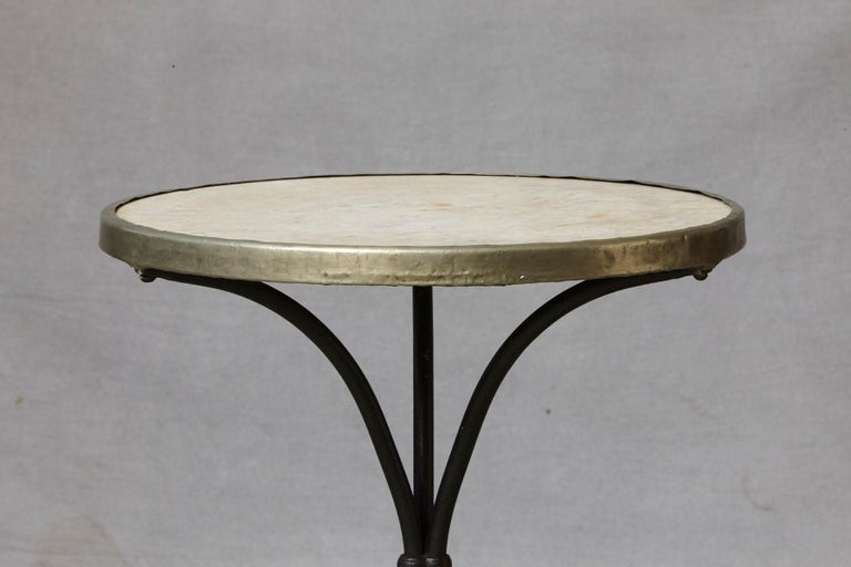 French Cast Iron Bistro Table with Marble Top and Brass Rim, circa 1920s In Good Condition For Sale In Westport, CT