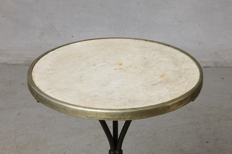 French Cast Iron Bistro Table with Marble Top and Brass Rim, circa 1920s For Sale 3
