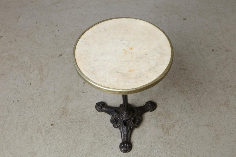 French Cast Iron Bistro Table with Marble Top and Brass Rim, circa 1920s For Sale 4