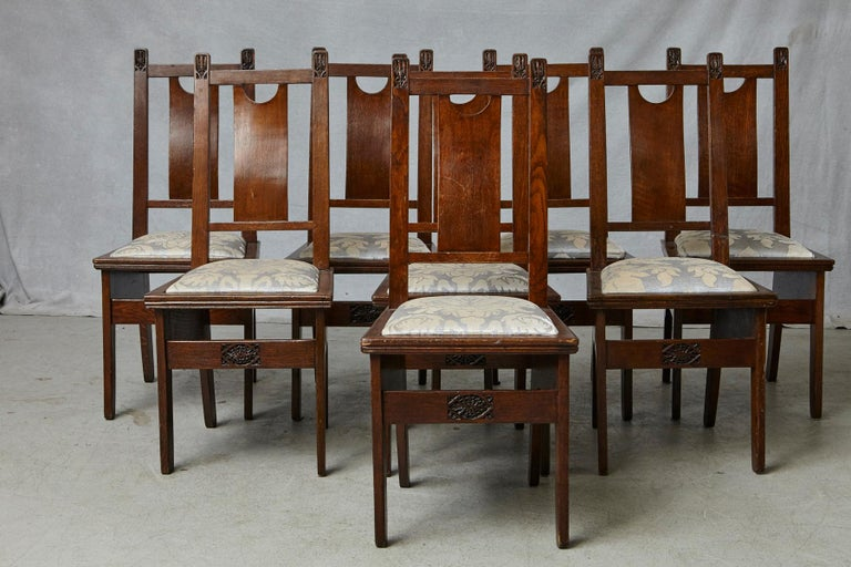 Important Art Nouveau Dining Set by Ernesto Basile for Ducrot, circa 1900 For Sale 9