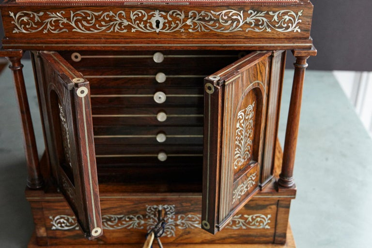 Important William IV Rosewood & Mother of Pearl Inlaid Lady's Table Compendium For Sale 1
