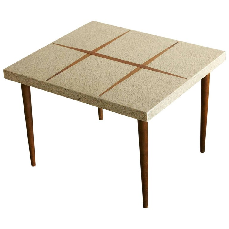 Rectangular Walnut Side Table with Terrazzo Top and Walnut Inlay, 1950s For Sale
