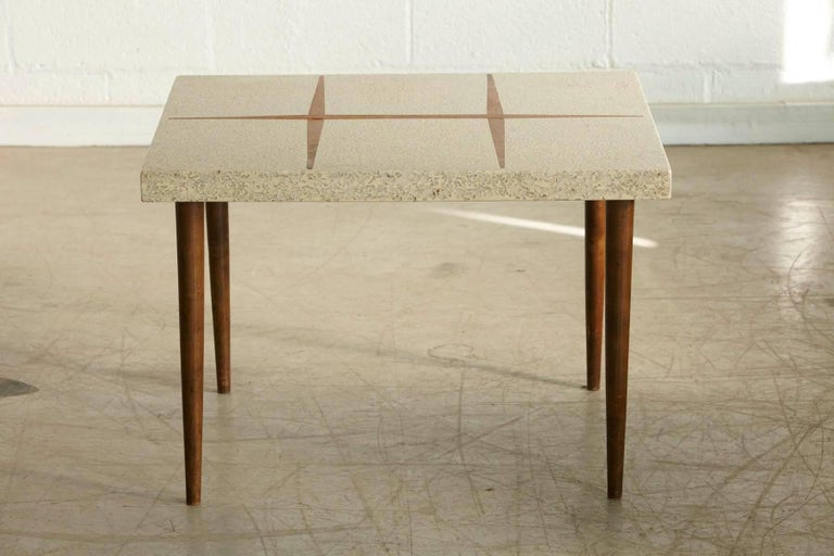 Mid-Century Modern Rectangular Walnut Side Table with Terrazzo Top and Walnut Inlay, 1950s For Sale