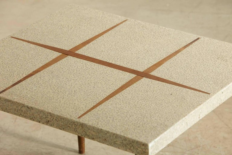 American Rectangular Walnut Side Table with Terrazzo Top and Walnut Inlay, 1950s For Sale