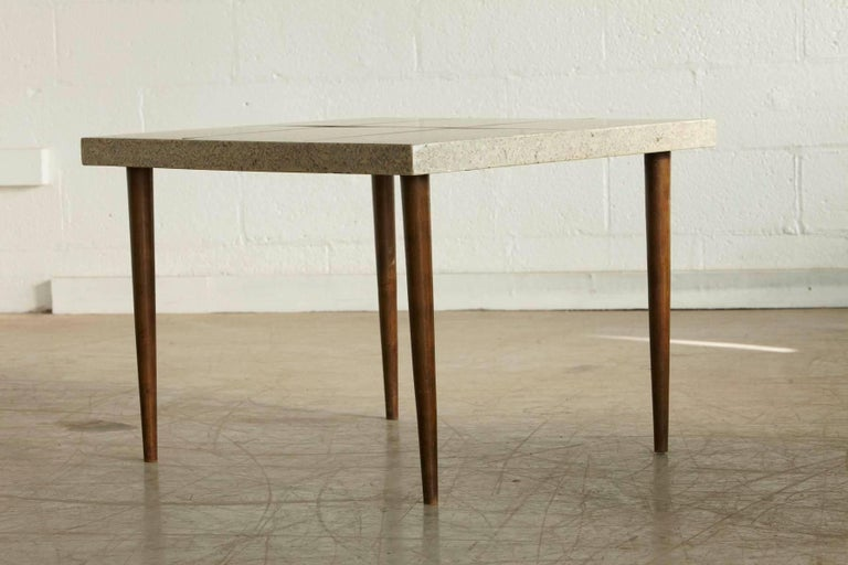 Rectangular Walnut Side Table with Terrazzo Top and Walnut Inlay, 1950s In Good Condition For Sale In Weston, CT