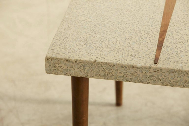 Mid-20th Century Rectangular Walnut Side Table with Terrazzo Top and Walnut Inlay, 1950s For Sale