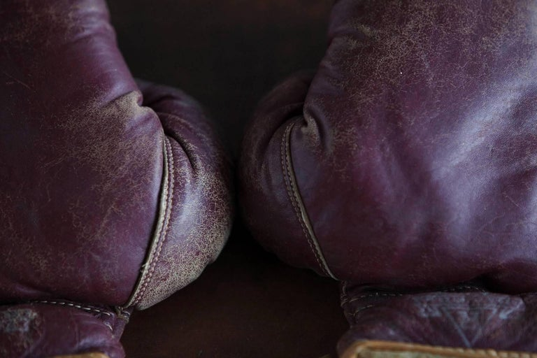 Mid-20th Century Original Leather Boxing Gloves by George a Reach Sporting Company, 1930s For Sale