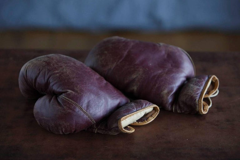 Original Leather Boxing Gloves by George a Reach Sporting Company, 1930s For Sale 2