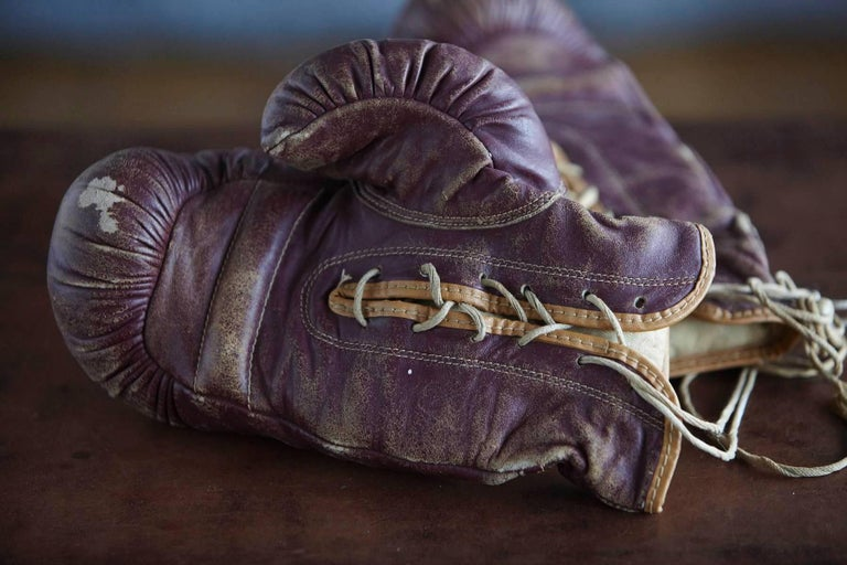 Original Leather Boxing Gloves by George a Reach Sporting Company, 1930s For Sale 3