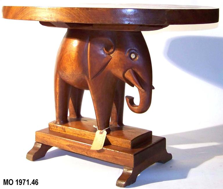 Rare Mahogany Table with Carved Elephant Base with Roosevelt History For Sale 1