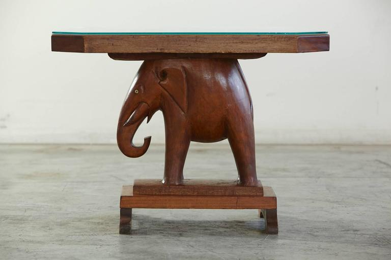 Octagonal Mahogany End Table With A Carved Elephant Figurine Base Eyes Made Of Bone