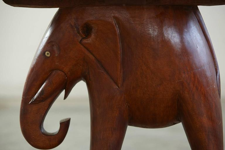 Folk Art Nigerian Mahogany End Table With Carved Elephant Base Circa 1940s For