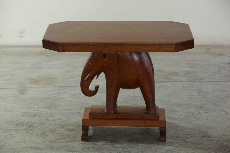Hand-Carved Nigerian Mahogany End Table with Carved Elephant Base, circa 1940s For Sale