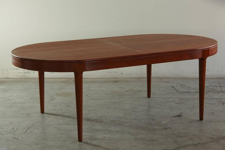 Teak Oval Extension Dining Table By Arne HovmandOlsen For Mogens - Teak oval extension dining table