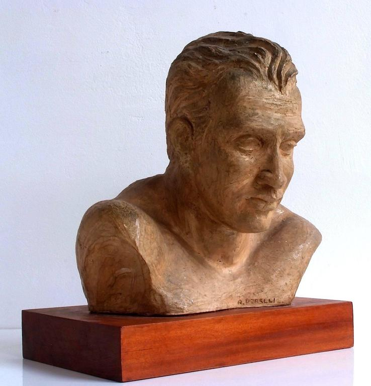 A. Pirelli, Athlete's Clay Bust Sculpture, 1950s, Signed 2