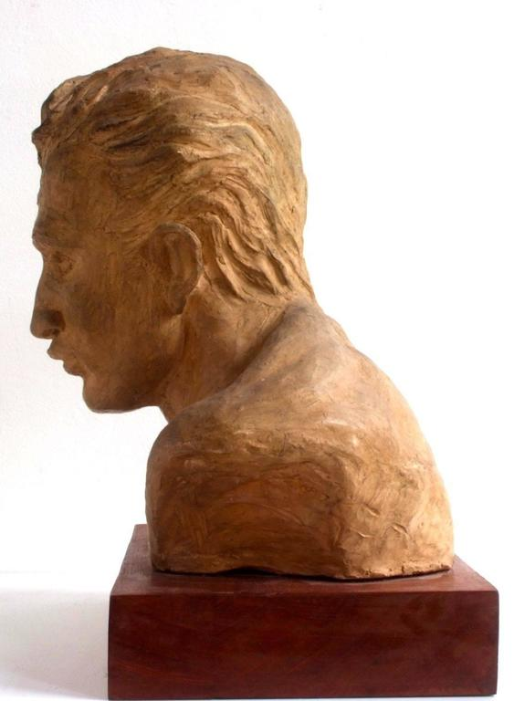 A. Pirelli, Athlete's Clay Bust Sculpture, 1950s, Signed 3
