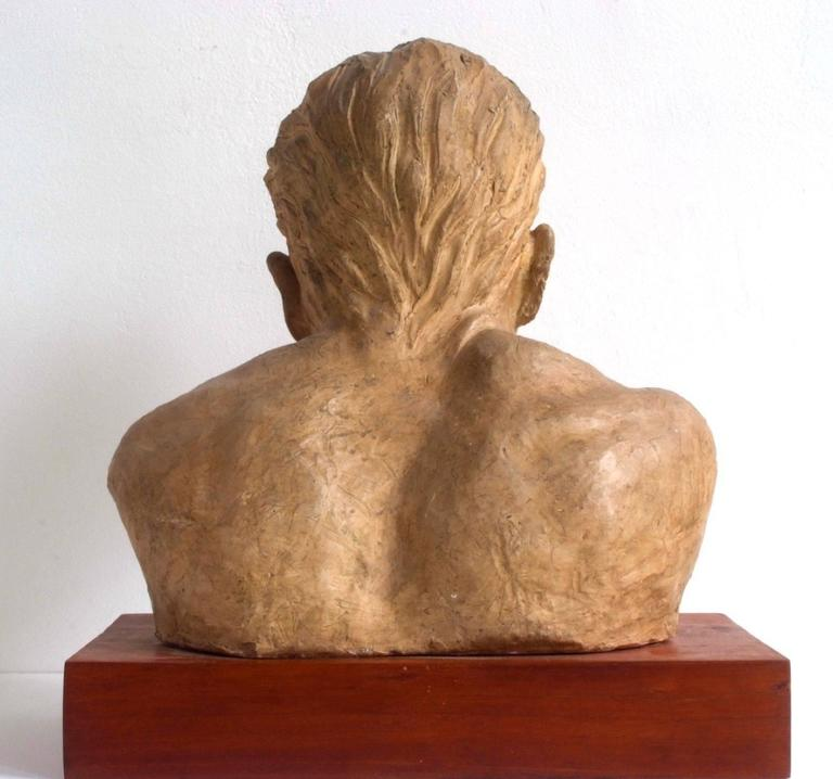A. Pirelli, Athlete's Clay Bust Sculpture, 1950s, Signed 4