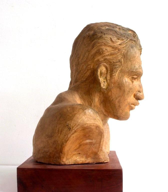 A. Pirelli, Athlete's Clay Bust Sculpture, 1950s, Signed 5