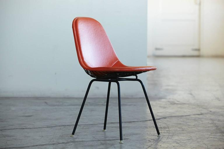 Beautiful Original Eames DKX 1 Side Chair In Orange Leather For Herman Miller, 1960s 2