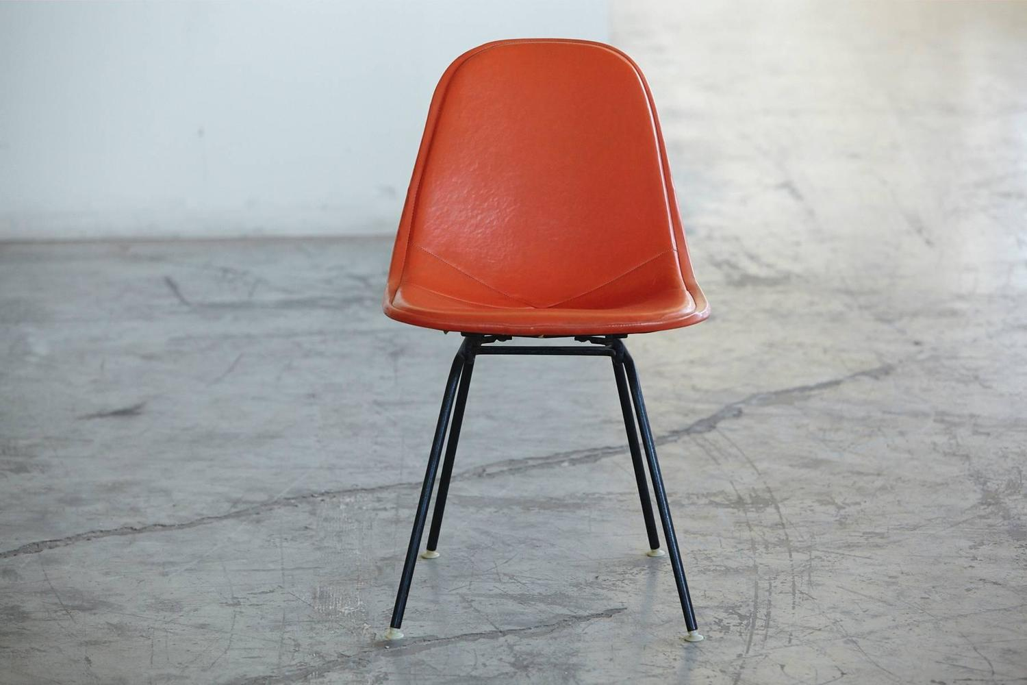 Original Eames DKX 1 Side Chair In Orange Leather For Herman Miller 1960s Fo