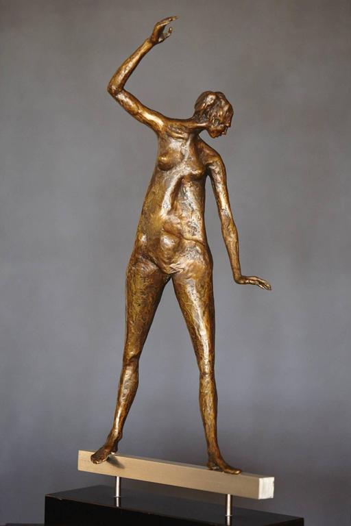 Woman On A Beam Abstract Figurative Bronze Sculpture By