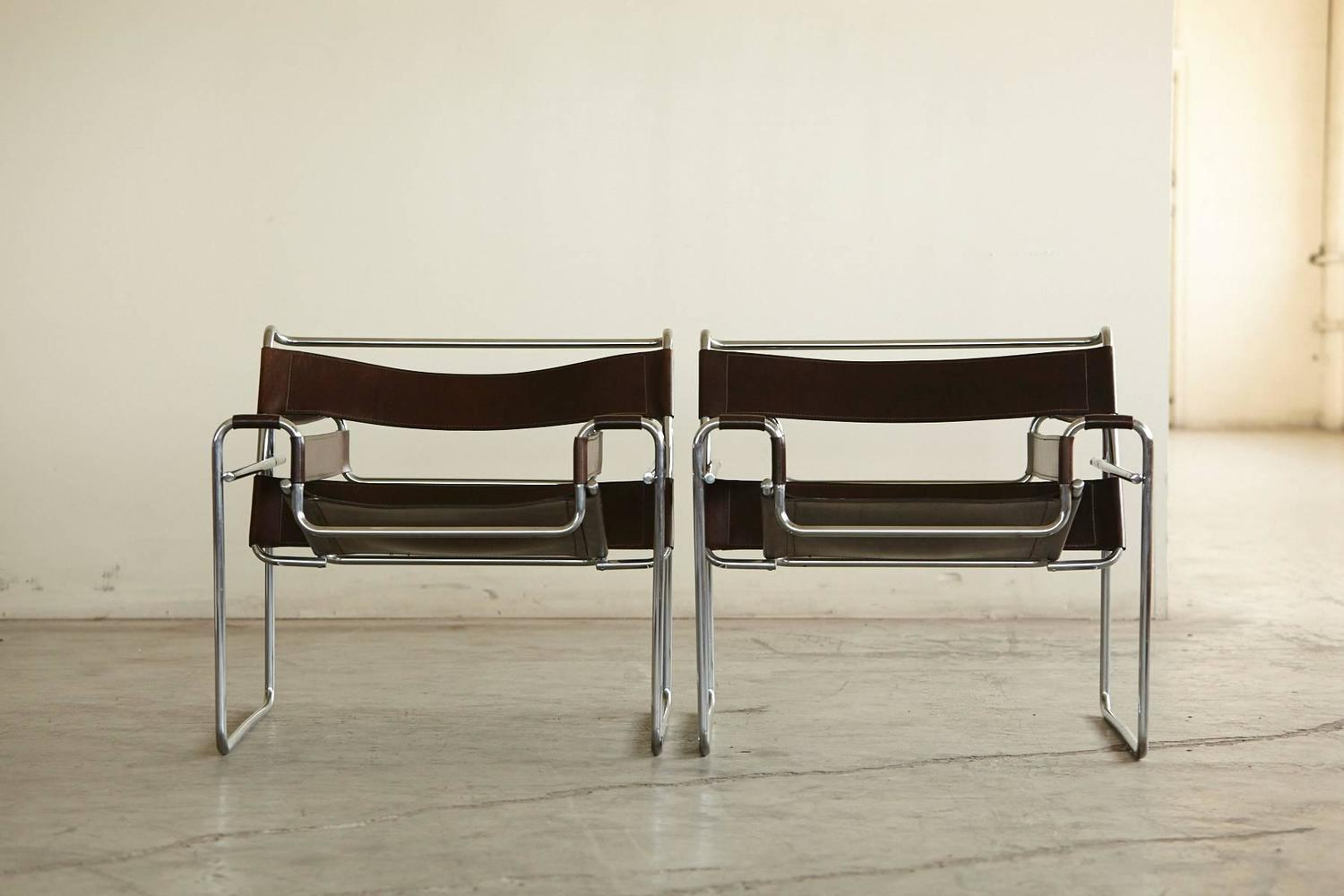 Pair of vintage marcel breuer wassily chairs in cognac brown leather