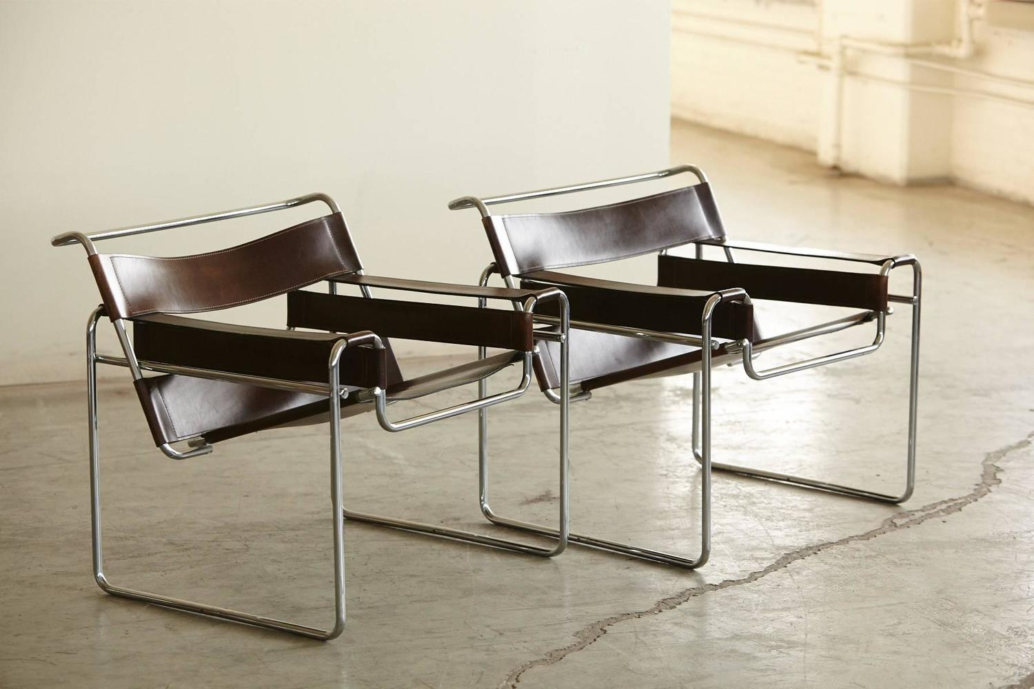 pair of vintage marcel breuer 39 wassily 39 chairs in cognac. Black Bedroom Furniture Sets. Home Design Ideas