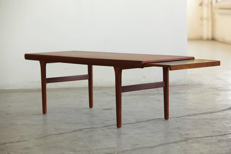 Johannes Andersen Teak Coffee Table With Extending Slide Out Tray For Sale At 1stdibs
