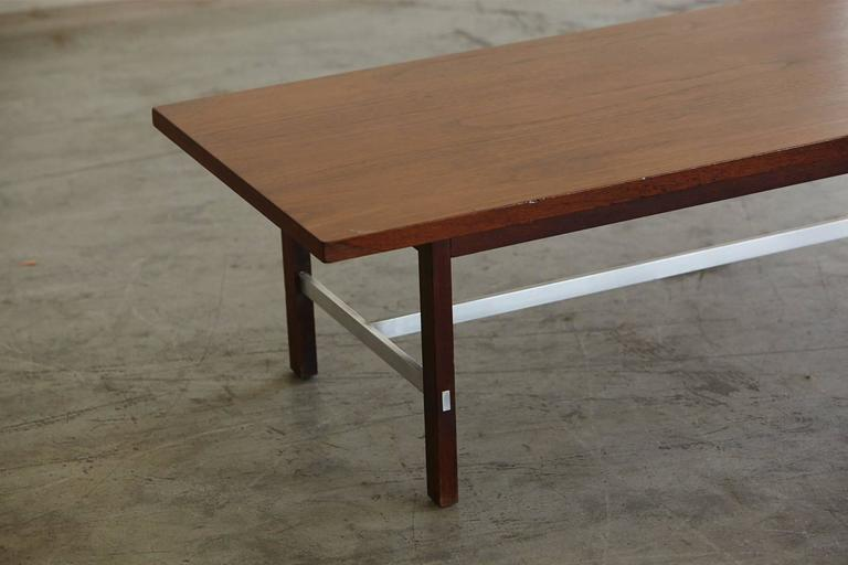 Mid-Century Modern Paul McCobb Walnut and Aluminum Coffee Table for Calvin Furniture For Sale