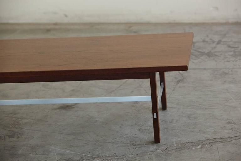 American Paul McCobb Walnut and Aluminum Coffee Table for Calvin Furniture For Sale