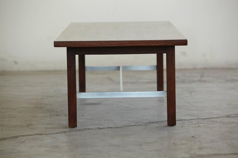 Paul McCobb Walnut and Aluminum Coffee Table for Calvin Furniture In Good Condition For Sale In Westport, CT