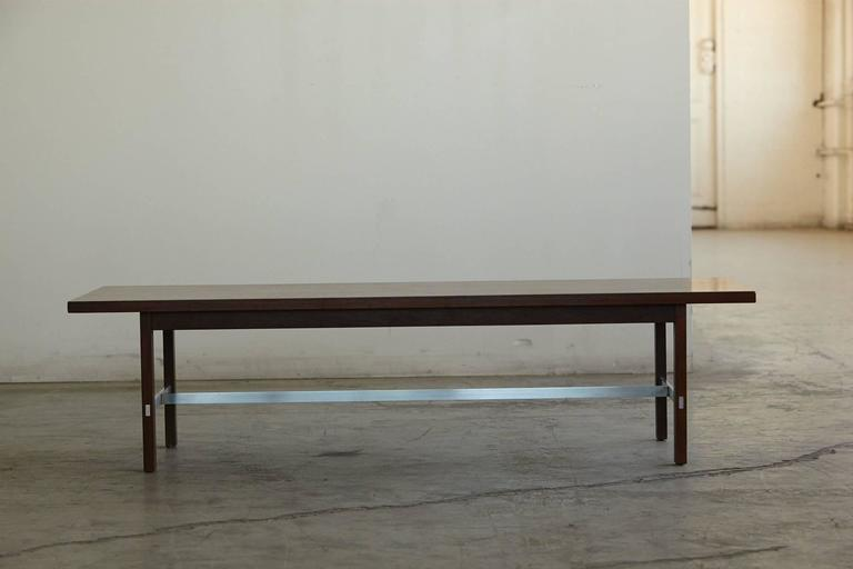 Paul McCobb Walnut and Aluminum Coffee Table for Calvin Furniture 2