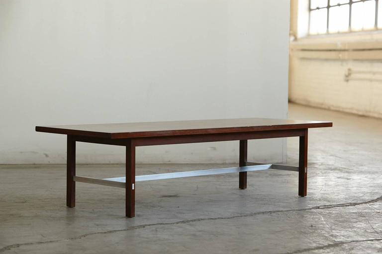 Mid-20th Century Paul McCobb Walnut and Aluminum Coffee Table for Calvin Furniture For Sale