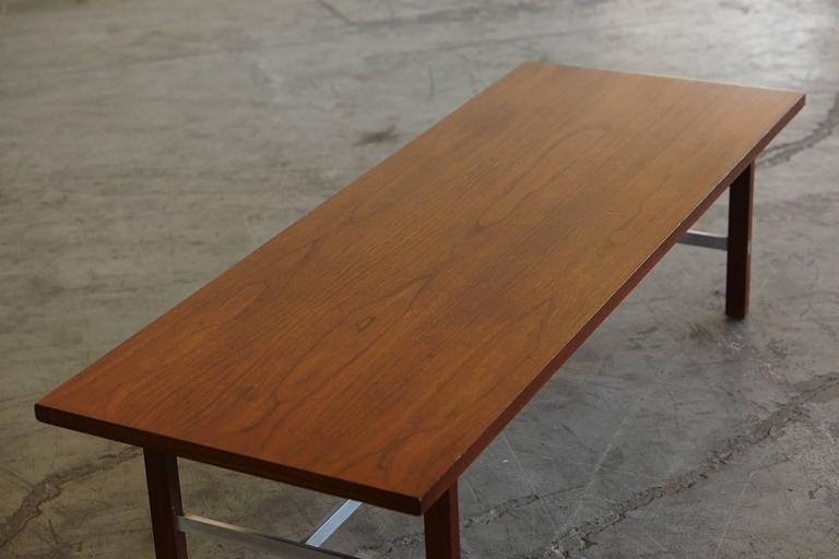 Paul McCobb Walnut and Aluminum Coffee Table for Calvin Furniture 7