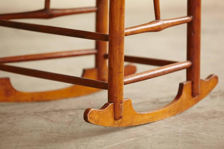 Early American Ladder Back Rocking Chair with Rush Seat, circa 1830 ...