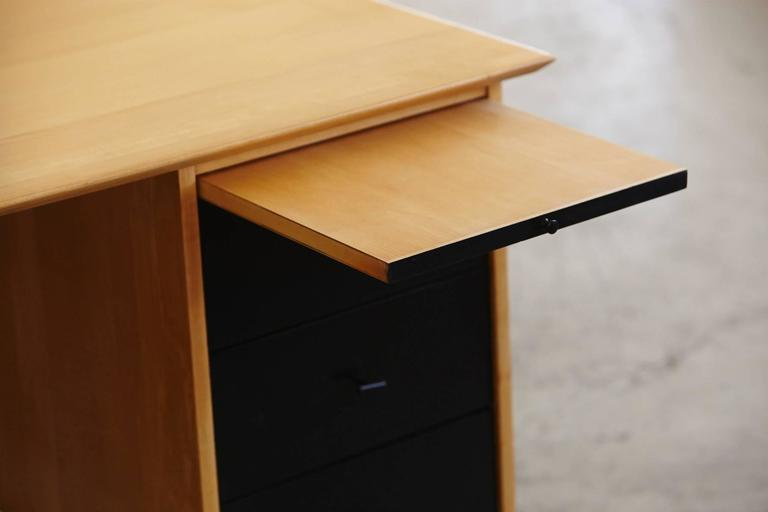 5 Drawer Pedestal Two Tone Black and Maple Desk by Paul McCobb for Planner Group 5