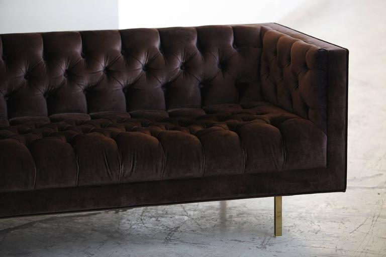 Modern Deeply Button Tufted Velvet Tuxedo Sofa in Chocolate Brown by Las Venus For Sale 1