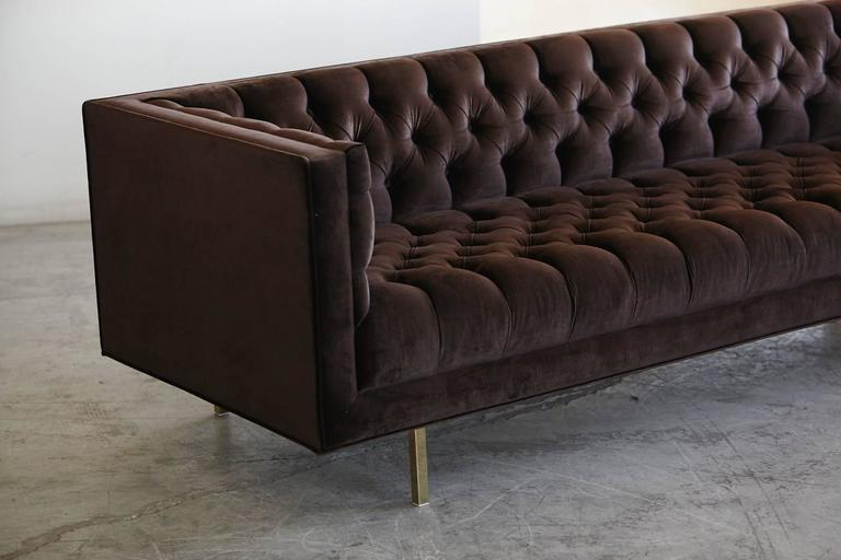 Contemporary Modern Deeply Button Tufted Velvet Tuxedo Sofa in Chocolate Brown by Las Venus For Sale