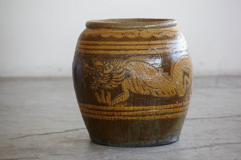 Korean Glazed Clay Dragon Water Jar For Sale At 1stdibs