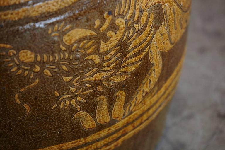 Korean Glazed Clay Dragon Water Jar For Sale 4
