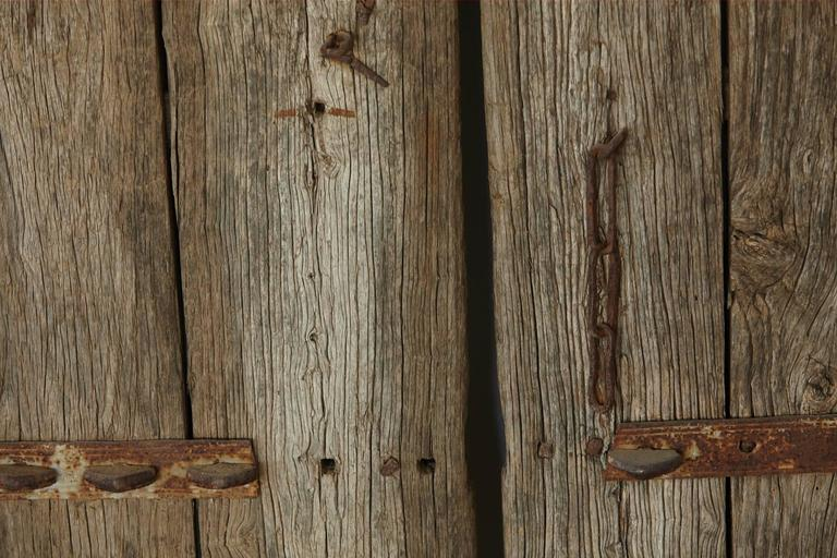Iron Pair of Large Antique Chinese Oak Gate Doors
