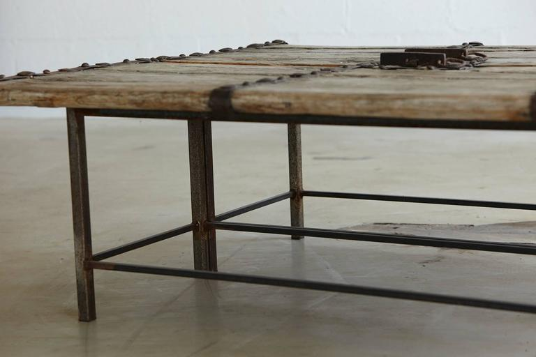 19th Century Low Antique Chinese Gate Doors Coffee Table on Custom-Made Welded Metal Base For Sale