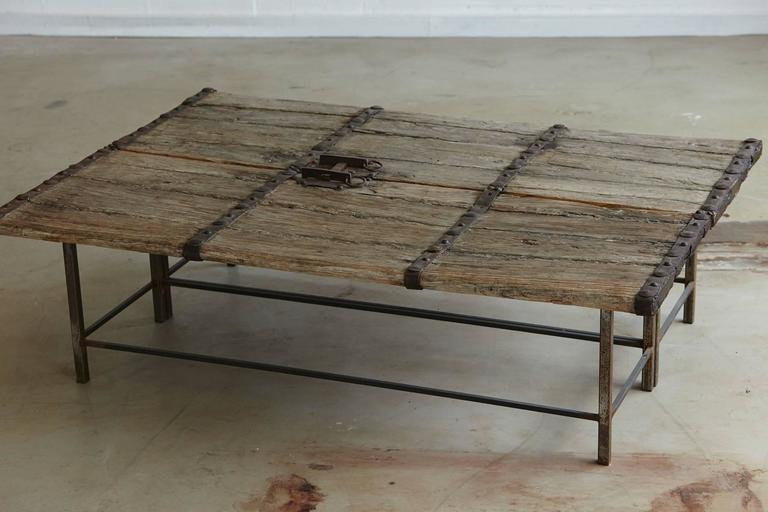 Low Antique Chinese Gate Doors Coffee Table On Custom Made Welded Metal  Base For Sale