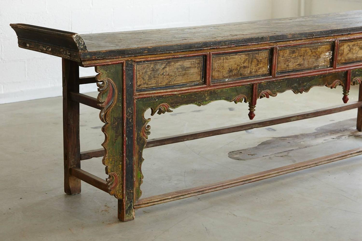 Extremely long antique hand carved and painted chinese for Antique chinese tables for sale